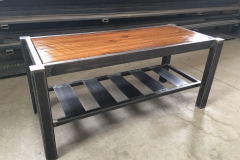 Old Soul - Coffee Table - Metal  and Reclaimed Threshing Floor Wood